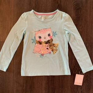 NWT Owl with Gold Sequin Scarf TShirt, Size M 5-6